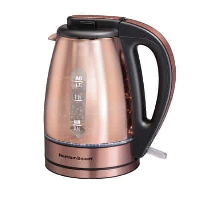 7-Cup Copper Glass Cordless Electric Kettle