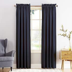 Navy Solid Rod Pocket Room Darkening Curtain - 54 in. W x 84 in. L