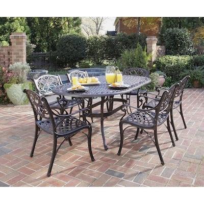 Sanibel Rust Bronze 7-Piece Cast Aluminum Outdoor Dining Set