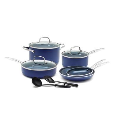 Blue Diamond 10-Piece Aluminum Ceramic Nonstick Cookware Set in Blue