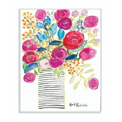 """12 in. x 18 in. """"Pink and Blue Flower Drawing"""" by Penny Lane Publishing Wood Wall Art"""