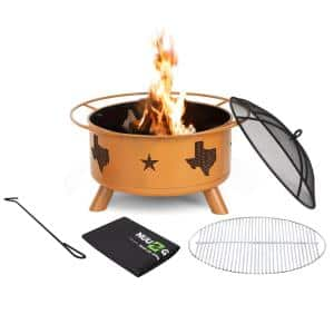 30 in. Steel Round Wood Burning Fire Pit with Poker/Cover/Cooking Grate in Orange