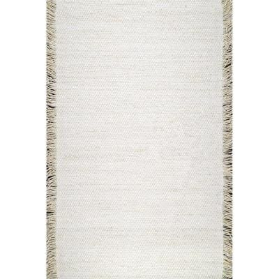 Fenella Solid Tassels Ivory 5 ft. x 8 ft. Area Rug