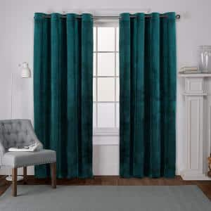Velvet Teal Solid Polyester 54 in. W x 96 in. L Grommet Top Light Filtering Curtain Panel (Set of 2)