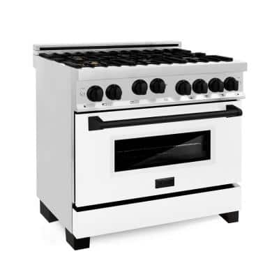 36 in. 4.6 cu. ft. Gas Range with Convection Gas Oven in Stainless Steel with White Matte Door and Matte Black Accents