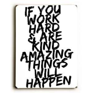 9 in. x 12 in. ''Work Hard'' by Cheryl Overton Solid Wood Wall Art