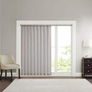 Grey Abstract Embroidered Rod Pocket Sheer Curtain - 100 in. W x 84 in. L