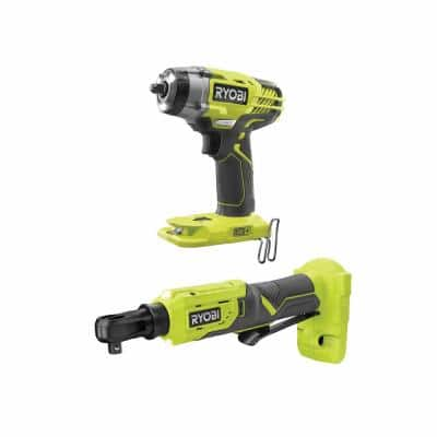 ONE+ 18V Cordless 3/8 in. 3-Speed Impact Wrench and 3/8 in. 4-Position Ratchet Kit (Tools Only)