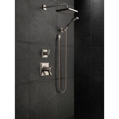 1-Spray 8 in. Single Wall Mount Square Fixed Rain Shower Head in Stainless