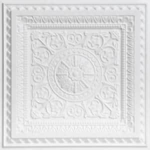 La Scala White Matte 2 ft. x 2 ft. PVC Glue-up or Lay-in Faux Tin Ceiling Tile (100 sq. ft./case)