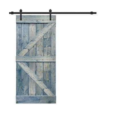 K Series 36 in. x 84 in. Solid Denim Blue Stained Pine Wood Interior Sliding Barn Door with Hardware Kit