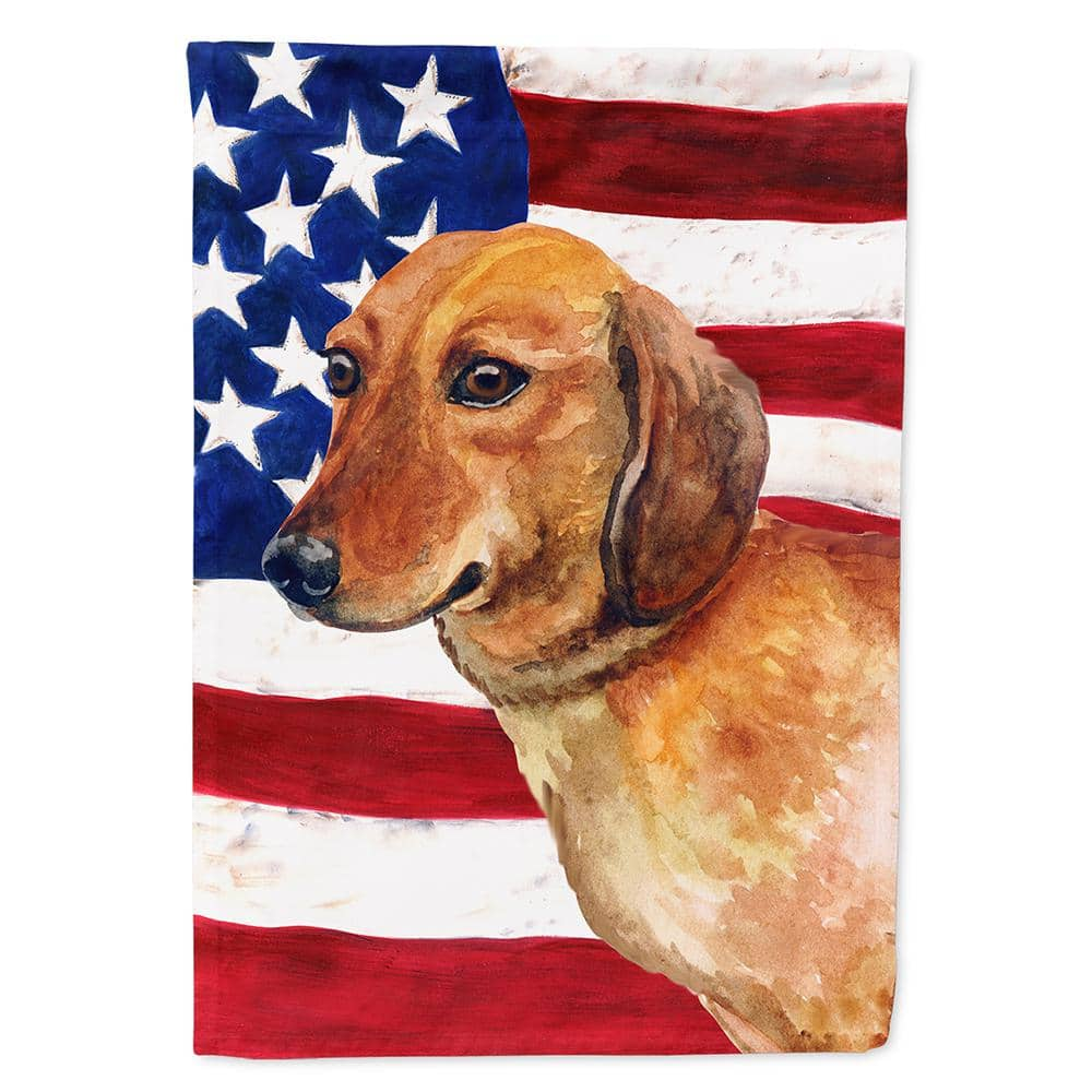 Caroline S Treasures 2 3 Ft X Polyester Dachshund Patriotic Sided Heavyweight Flag Canvas House Size Bb9652chf The Home Depot