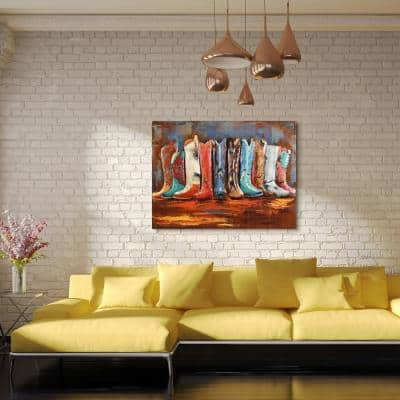"""30 in. x 40 in. """"Line Dance"""" Mixed Media Iron Hand Painted Dimensional Wall Art"""