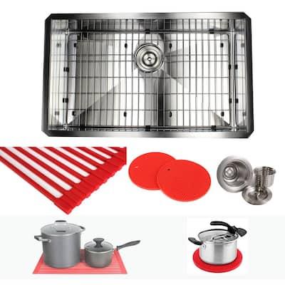 Undermount Stainless Steel 30 in. x 18 in. x 10 in. Deep 16-Gauge Single Bowl Zero Radius Kitchen Sink Combo