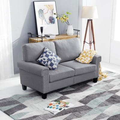 61 in. Gray Polyester 2-Seater Loveseat with Removable Cushions