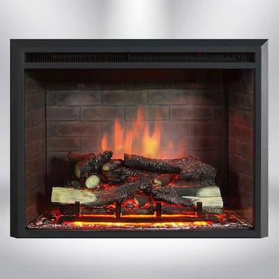 35 in. LED Electric Fireplace Insert in Black Matt