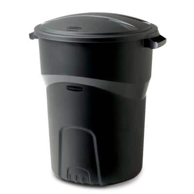 Roughneck 32 Gal. Black Round Trash Can with Lid