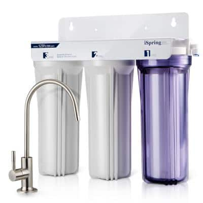 3-Stage Under Sink High Capacity Tankless Drinking Water Filtration System-Includes Sediment 2x Cto Carbon Block Filters