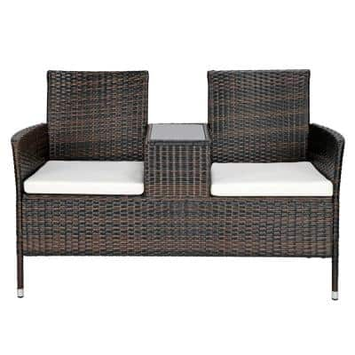 All Weather Brown Wicker Outdoor Loveseat with White Cushions