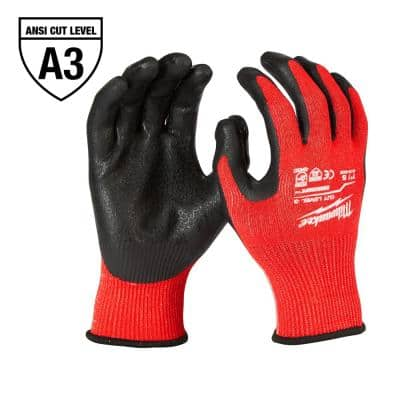 Medium Red Nitrile Level 3 Cut Resistant Dipped Work Gloves