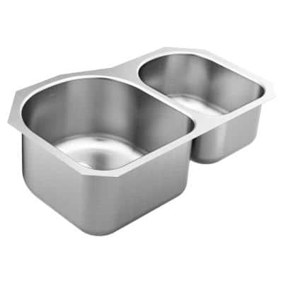 1800 Series Stainless Steel 31.25 in. Double Bowl Undermount Kitchen Sink with 10 and 8 in. Depth
