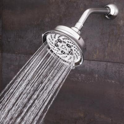 5-Spray 5.3 in. Single Wall Mount Fixed Adjustable Shower Head in Polished Chrome