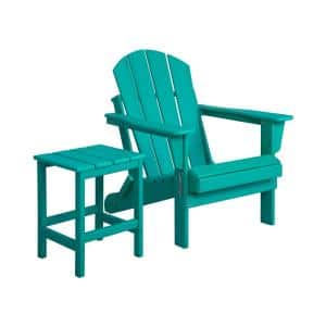 LUNA Turquoise Poly Outdoor Adirondack Chair with Side Table
