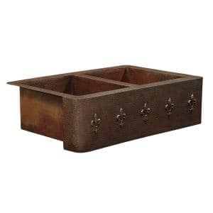 Bernini Farmhouse Apron Front Handmade Pure Solid Copper 36 in. Double Bowl 50/50 Kitchen Sink with Fleur de Lis