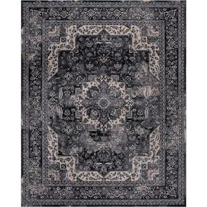 Angora Anthracite 9 ft. x 13 ft. Medallion Area Rug