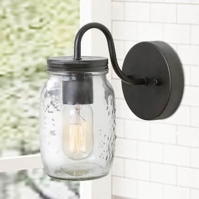 Mina 1-Light Oil-Rubbed Dark Bronze Modern Farmhouse Wall Sconce Vanity Light with Rustic Mason Jar Glass Shade