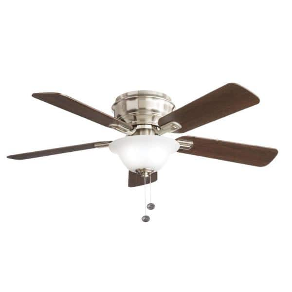 Hampton Bay Hawkins Ii 44 In Led Brushed Nickel Ceiling Fan With Light Yg204c Bn The Home Depot
