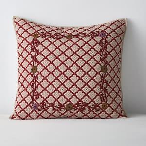 Thornwood Multicolored Geometric Cotton Blend Embroidered Euro Sham