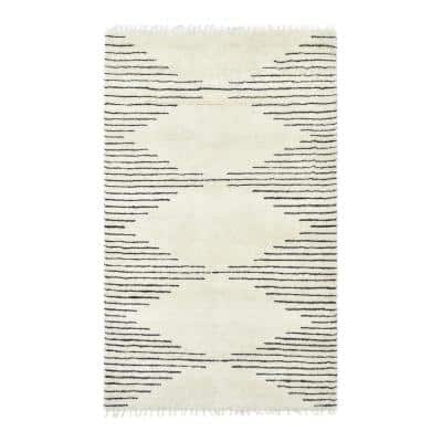 Bernie Bohemian Moroccan Parchment 9 ft. x 12 ft. Hand-Knotted Area Rug