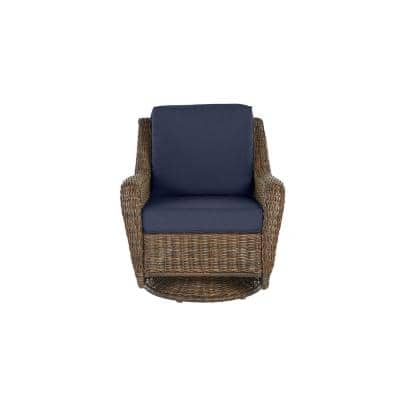 Cambridge Brown Wicker Outdoor Patio Swivel Rocking Chair with CushionGuard Midnight Navy Blue Cushions