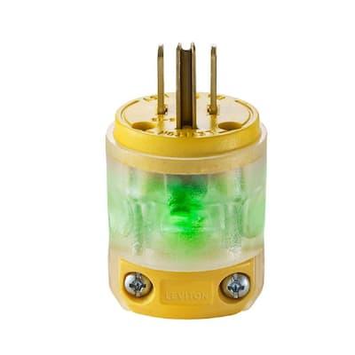 15 Amp 125-Volt Round Dead Front Plug, Clear