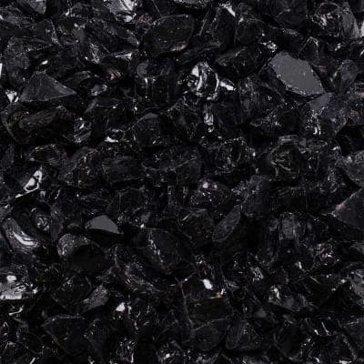 1/2 in. to 3/4 in. 10 lbs. Onyx Black Crushed Fire Glass in Jar