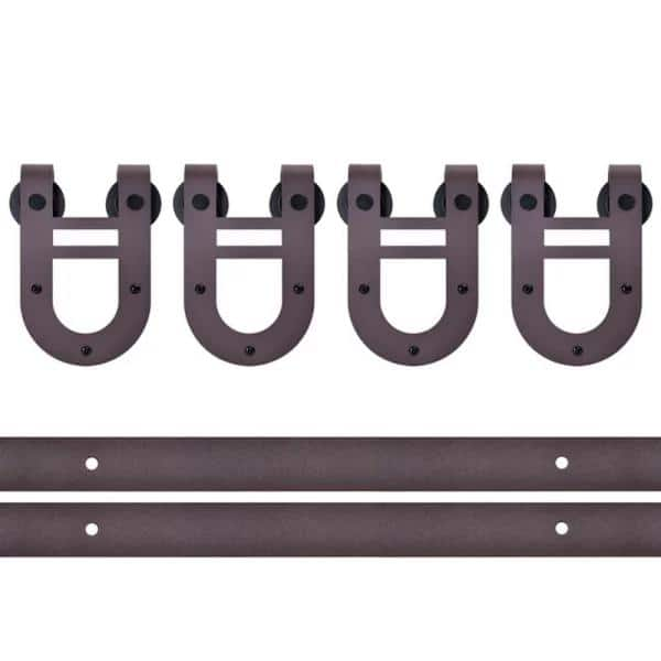 Calhome 144 In Antique Bronze Rustic Horseshoe Style Double Track Barn Door Hardware Kit Tsq06 Orb 2 Cnnt Orb 1 The Home Depot