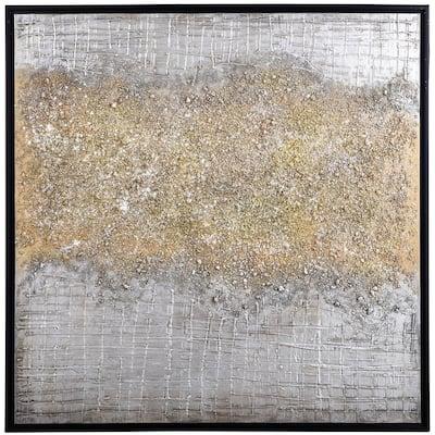 Silver & Gold Rupture Black Canvas, Wood Framed Wall Art