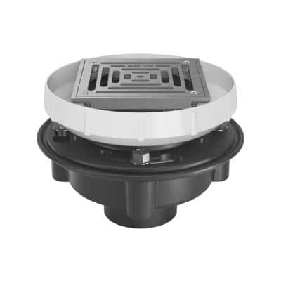 EZ1 ABS Drain with 6 in. Square Stainless Steel Strainer and 2 in. x 3 in. Solvent Weld Outlet
