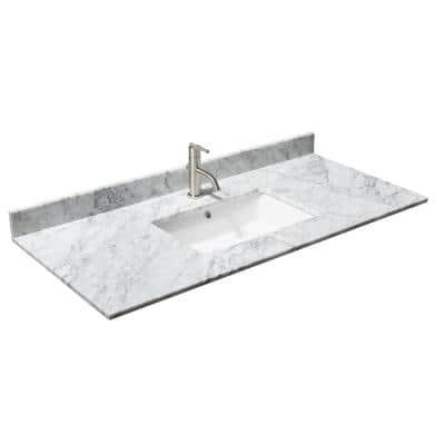 48 in. W x 22 in. D Marble Single Basin Vanity Top in White Carrara with White Basin