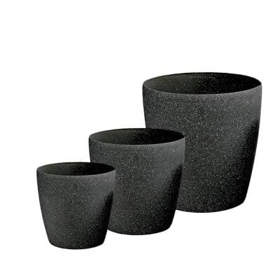 Sandstone-like 8.5 in., 11 in. and 14 in. Dia. Charcoal Gray Poly-Resin Round Planters with Drain Liner (3-Pack)