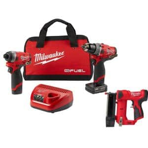 M12 FUEL 12-Volt Cordless Hammer Drill and Impact Driver Combo Kit with M12 23-Gauge Lithium-Ion Cordless Pin Nailer
