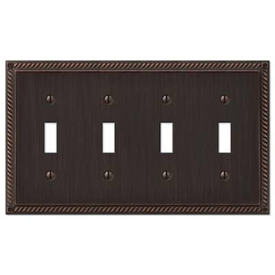 Georgian 4 Gang Toggle Metal Wall Plate - Aged Bronze