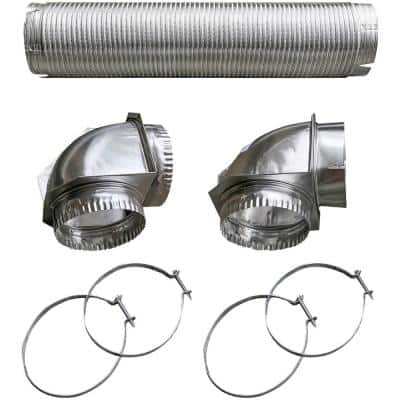 Silver Semi-Rigid Dryer Vent Kit with Close Elbow