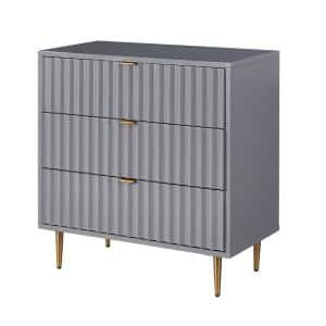 Gray MDF 3-Drawer Accent Chest of Drawers with Metal Golden Stands 31.5 in. x 31.5 in. x 15.75 in.