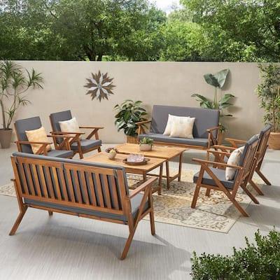 Panama Teak Brown 8-Piece Wood Patio Conversation Set with Dark Grey Cushions