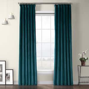 Deep Sea Teal Velvet Rod Pocket Room Darkening Curtain - 50 in. W x 108 in. L