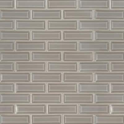 Dove Gray Beveled 12 in. x 12 in. x 10 mm Glossy Ceramic Mesh-Mounted Mosaic Wall Tile (10 sq. ft. / case)