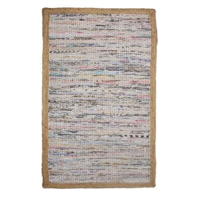 Accent Subtle Multi-color 3 ft. x 5 ft. Abstract Cotton/Jute Braided Border Area Rug