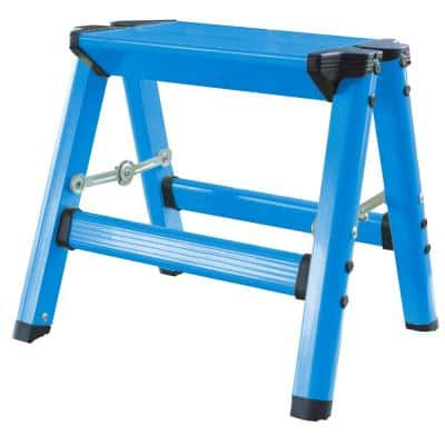 Aluminum Single Step Folding Stool with 325 lbs. Load Capacity in Neon Blue